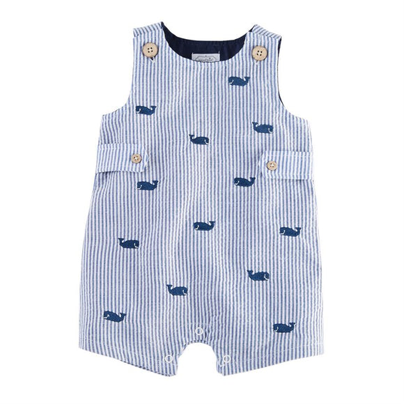 Blue Whale Seersucker Shortall