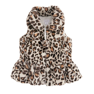 Childrens Ivory Faux Leopard Fur Vest