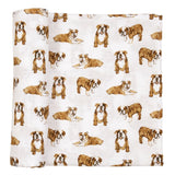 Bulldog Muslin Swaddle Blanket