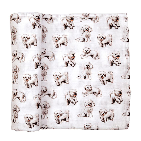 Furry White Dog Muslin Swaddle Blanket