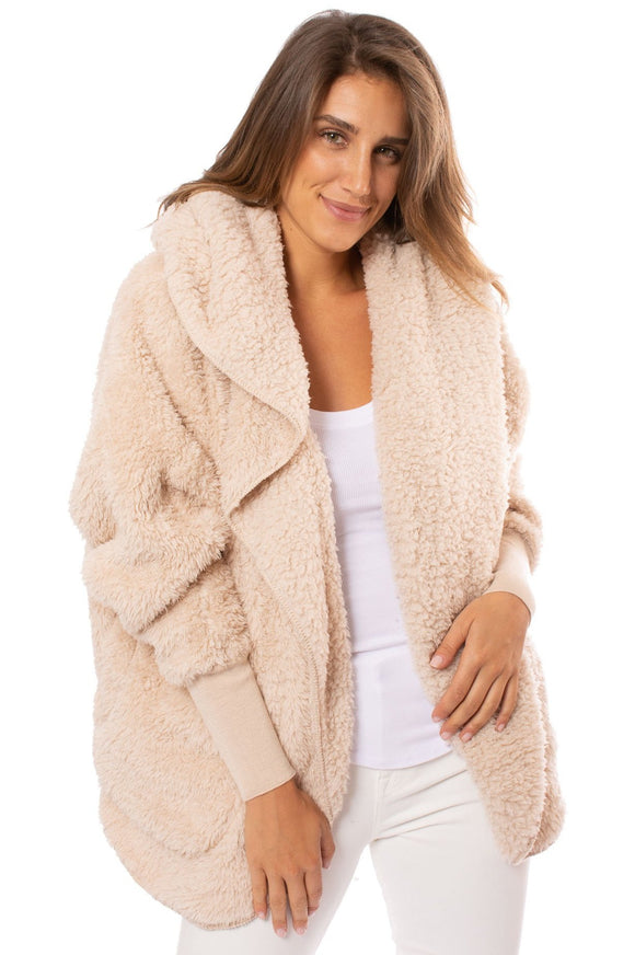 Nordic Beach Cozy Hooded Wrap in Fluffy Frappe
