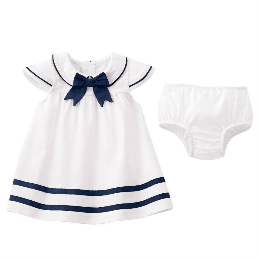 White Linen Nautical Dress