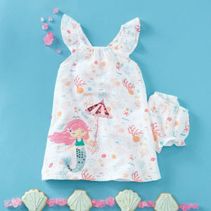 Mermaid Muslin Applique Dress