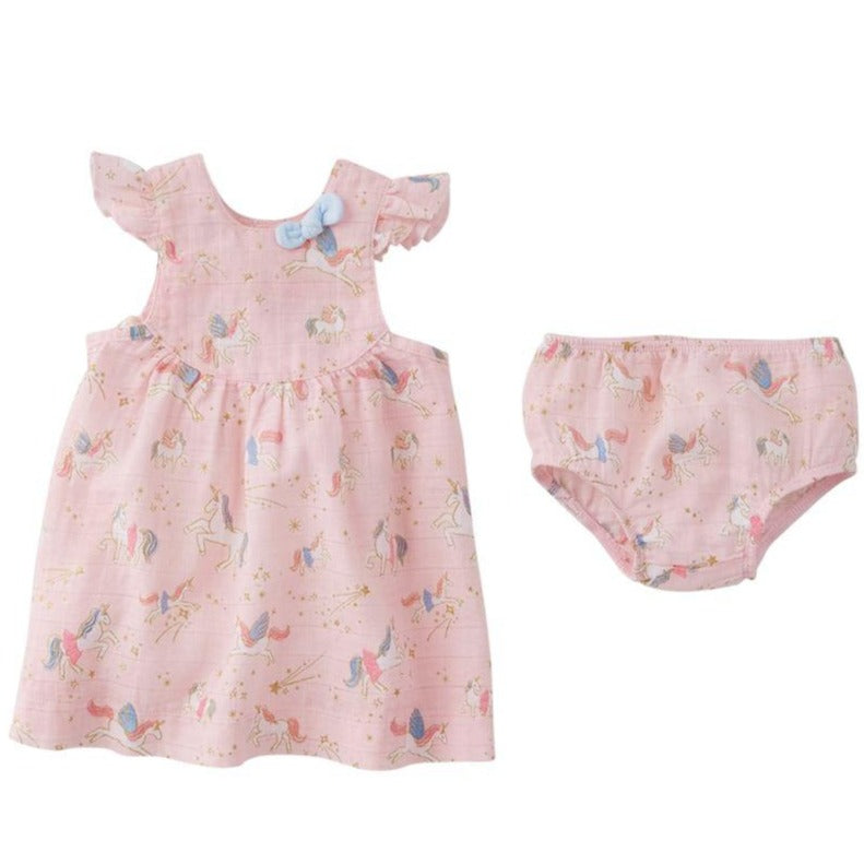 Unicorn Muslin Dress & Bloomer Set in Pink