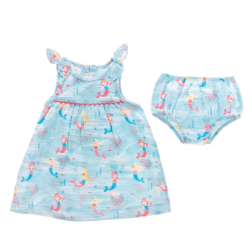 Blue Mermaid Muslin Dress & Bloomer Set