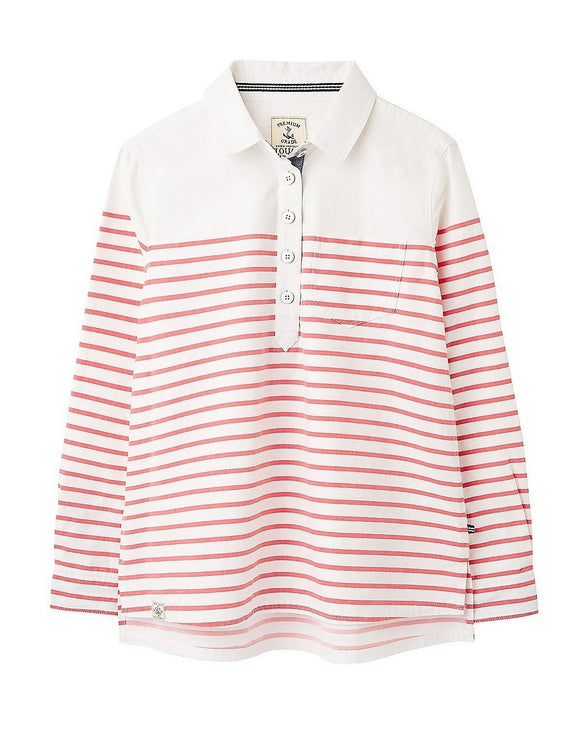 Red & White Striped Collared Pullover Shirt