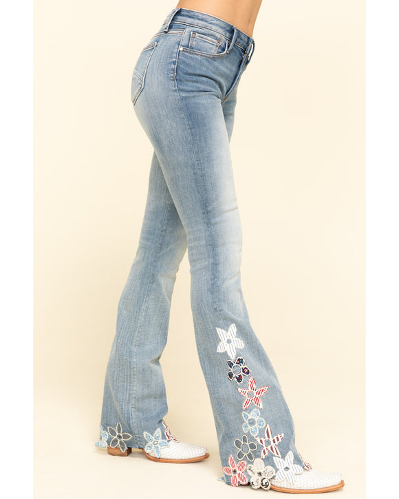 Light Wash Floral Hem Isabel Flare Jeans