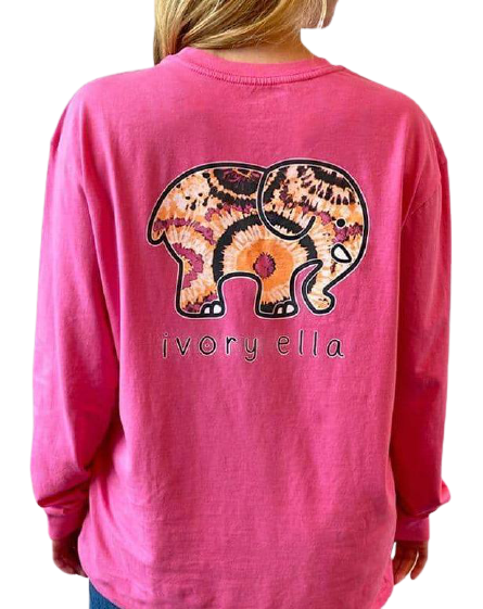 ivory ella hot pink long sleeve shirt with a tie dye elephant