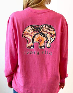 Jake Fit Burst Ivory & Ella Elephant Long Sleeve Tee