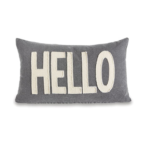 Hello Applique Washed Canvas Pillow