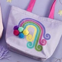 Be Magical Rainbow Tote Bag with Pom Pom