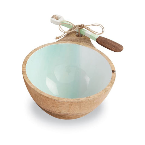 Aqua Beach Wood Dip Bowl Set