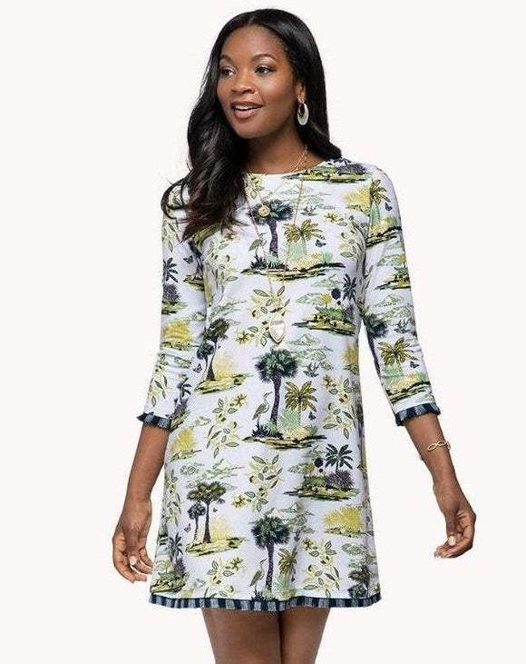 Island Fringe 3/4 Sleeve Dress Ashley River Toile