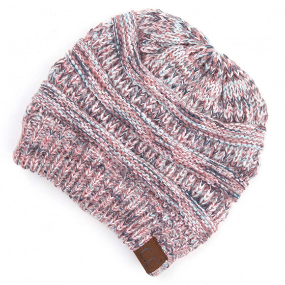 C.C. Multicolor Ribbed Knit Beanie