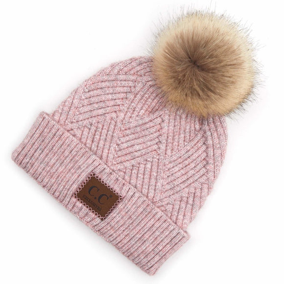 C.C. Diagonal Stripe Knit Pattern Pom Beanie