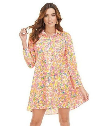 Neon Floral Collins Button-Down Cover Up