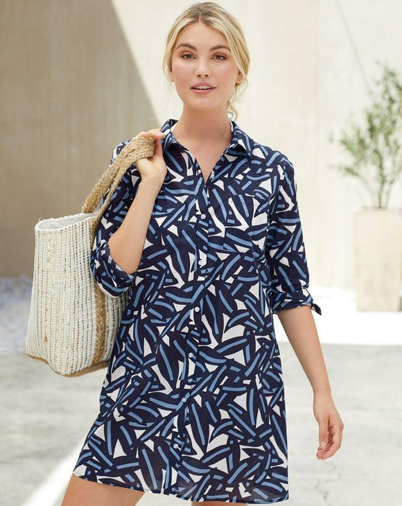 Navy Leaf Collins Button-Down Cover Up