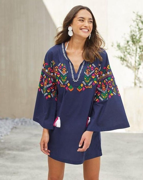 Tillery Embroidered Tunic in Navy