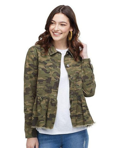 Green Camo Banks Peplum Denim Jacket