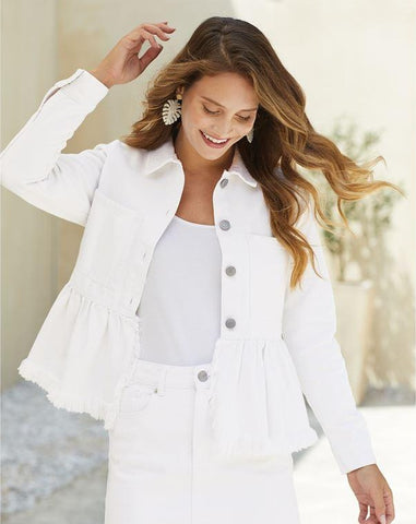 White Banks Peplum Denim Jacket