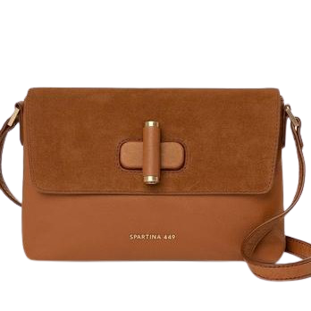 Spartina Brown Cognac Siren Clara Crossbody Suede and Leather Brown Crossbody Bag