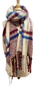 Plaid Fringe Scarf in Burgundy/Blue