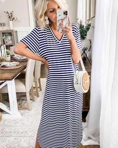 Jojo Jersey Midi Dress in Navy Stripe
