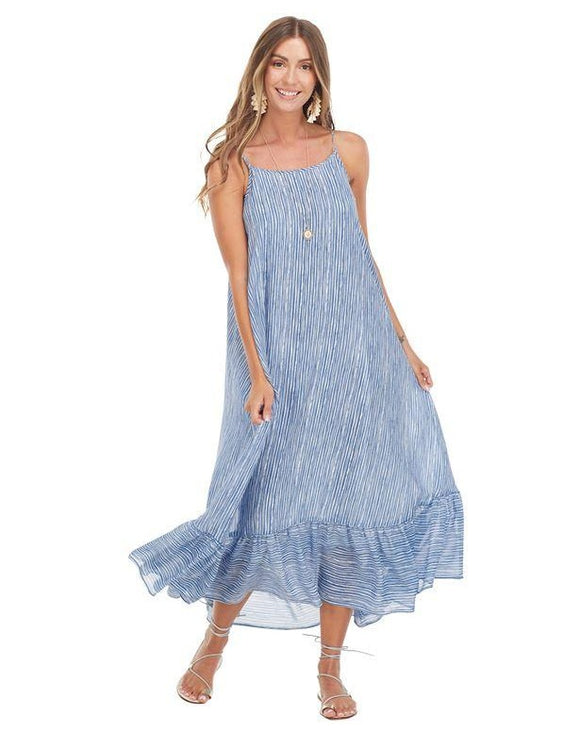 Blue Stripe Adora Flounce Maxi Dress