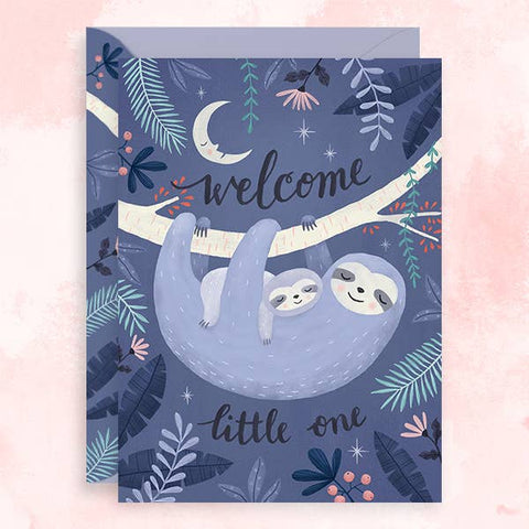 Welcome Little One Sloth Card