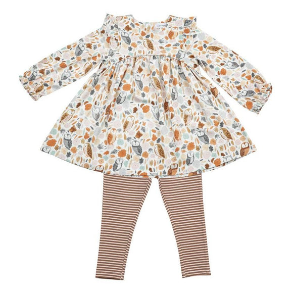 fall owls angel dear dress & leggings set for kids