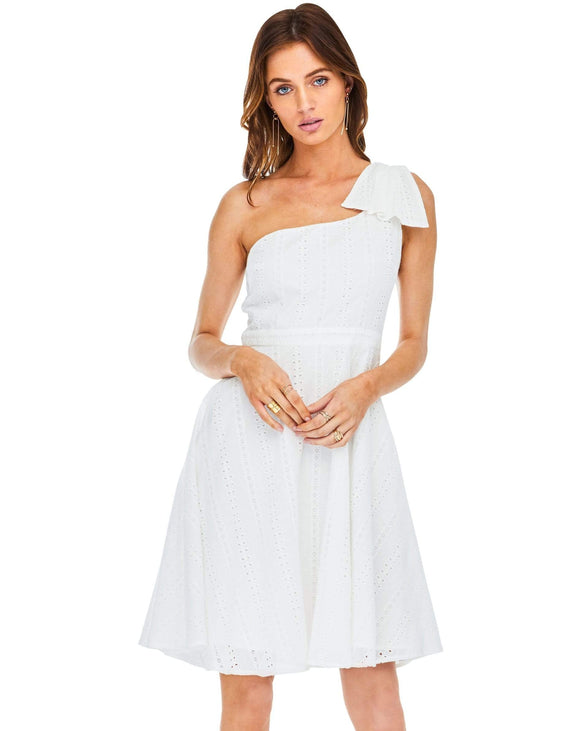 White Eyelet One Shoulder Allison Dress