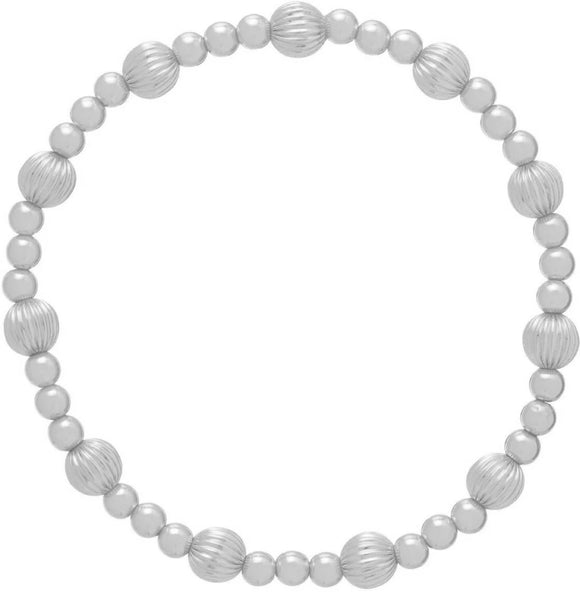 Dignity Sincerity Pattern 6mm Bead Bracelet - Silver