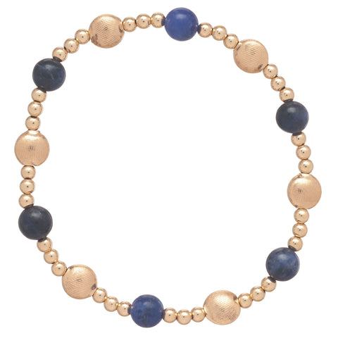 Honesty Gold Sincerity Pattern 6mm Bead Bracelet - Sodalite