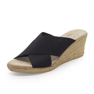 Backless Cannon Wedge Sandal in Black