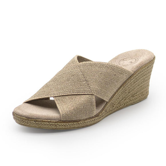 Backless Cannon Wedge Sandal in Linen