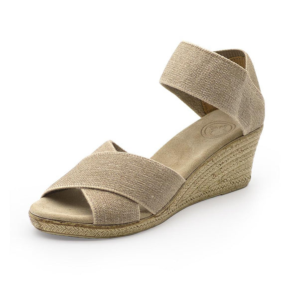 Cannon Wedge Sandal in Linen
