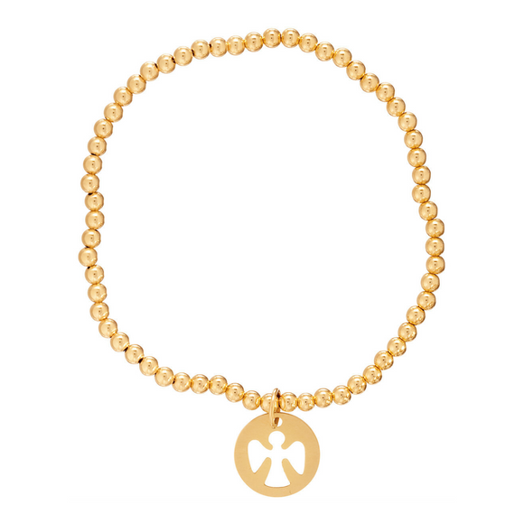Gold 3mm Bead Bracelet - Guardian Angel Charm