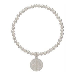Classic Silver 4mm Bead Bracelet - Blessing Charm