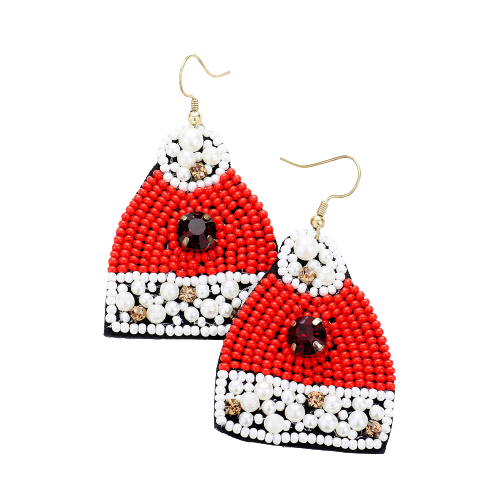 Santas Hat Beaded Earrings
