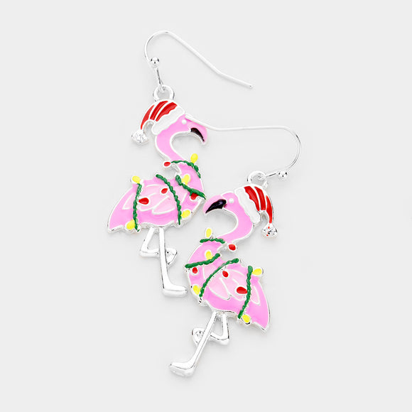 Flamingo Santa Christmas Earrings