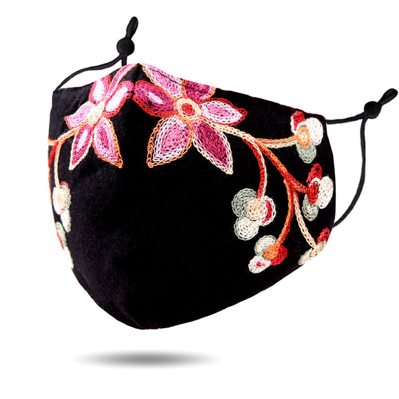 Embroidered Flower & Leaf Face Mask