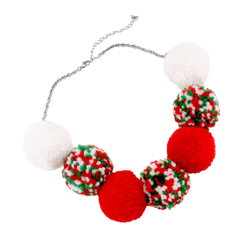 Christmas Multi Color Pom Pom Necklace