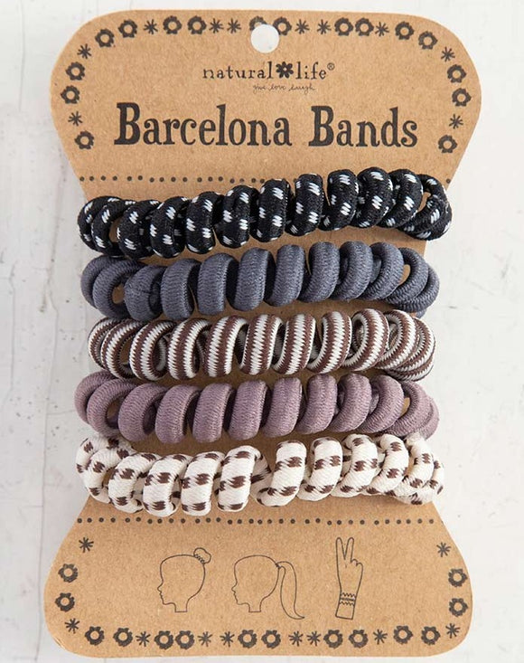 Barcelona Bands Grey Paracord Coil Hair Bands