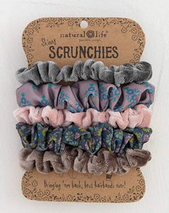 Grey Skinny Printed and Velvet Scrunchies