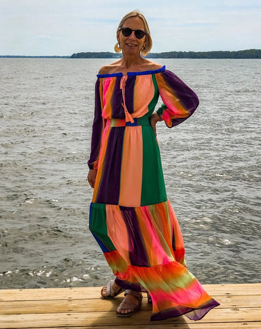 Rainbow Off the Shoulder Maxi Dress
