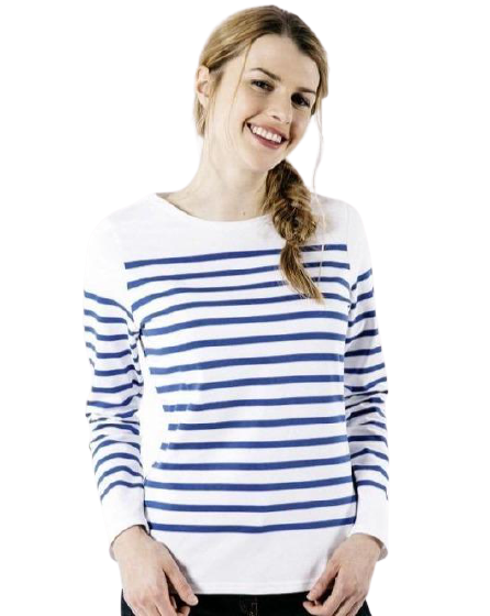 blue and white striped saint james nautical top