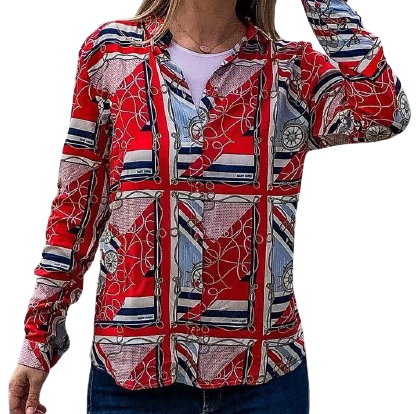 Mathilda Red Nautical Print Button Up Blouse