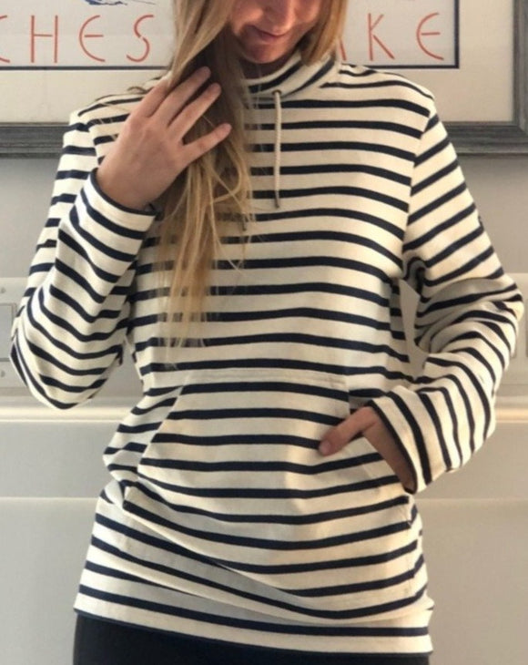Striped Pullover Cowl Neck with Pockets