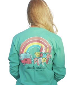 Happy Camper simply southern long sleeve tee with rainbow