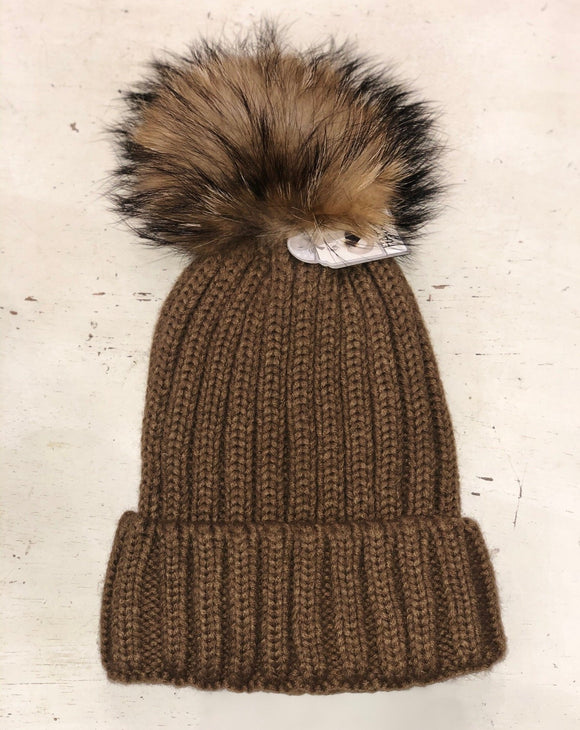 brown beanie hat with snap off pom pom